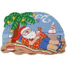 Craftways Tropical Santa Wall Hanging Plastic Canvas Kit Christmas Ball Ornaments