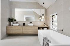 #bathroom #ensuite #masterbath #bathtub #bath #pendantlight #doublevanity #doublebasins #blacktapware #resortbathroom #floatingvanity #timbervanity
