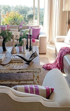 Living Room with Pops of Pink