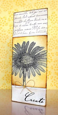 beautiful bookmark with stamping, distressing and stitching