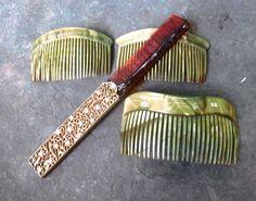 Vintage Ladies Gold Rhinestone Folding Hair Comb 3 Swirl Hair Comb Clips | eBay