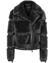 REISS - ELLIE LEATHER AND SHEARLING JACKET