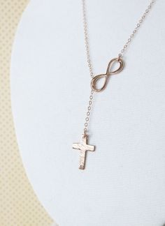 Rose Gold Cross and Infinity Lariat, Y Necklace, Blessed, Everyday, Forever Jesus God believe faith Necklace, religion, www.colormemissy.com, by ColorMeMissy