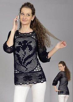 Crochet Shrug Pattern, Crochet Cardigan, Crochet Patterns, Crochet Sweaters, Tunic Pattern, Black Crochet Dress, Crochet Top, Crochet Clothes, Diy Clothes