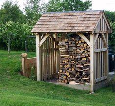bespoke oak garden buildings structures and rustic furniture Backyard Sheds, Outdoor Sheds, Outdoor Gardens, Firewood Shed, Firewood Storage, Garden Buildings, Garden Structures, Shed Design, Garden Design