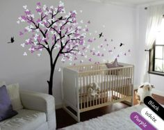 Nursery Wall Tree Decal with Leaves and Flying Birds, Murals, Flowers - KR002