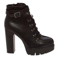 Μποτάκια με χοντρό τακούνι και τρακτερωτή σόλαΜΑΥΡΟBM-8968 Booty, Ankle, Heels, Shopping, Fashion, Heel, Moda, Swag, Wall Plug