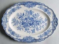 Crown Ducal Bristol Blue 16 Oval Serving Platter, Fine China Dinnerware Blue