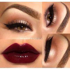 Neutral eye and dark lip