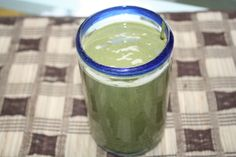 Kale, Blueberry, Banana Cream Smoothie    1 cup So Delicious Unsweetened Coconut Milk Beverage  1 scoop Lean Dessert Banana Cream Protein Powder (or protein powder of choice  1/2 frozen banana  1/2 cup frozen blueberries  3-5 kale leaves, roughly chopped  1 tbsp ground flaxseed