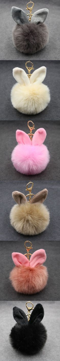 14 Colors Cute Bunny Keychain Fake Rabbit Fur Ball Key Chain Bag Charms MEEHEE Keychain Jewelry Wholesale Keyring