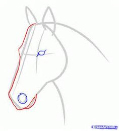 how to draw a horse head in 3