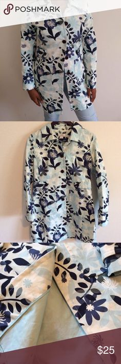 Size Small Floral Dress Coat Beautiful gorgeous floral print button dress coat. 100% cotton. Size small. Bust 17 waist 17 length 34 LOFT Jackets & Coats Trench Coats