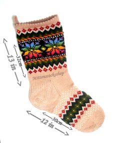 Christmas Stocking knit Hand knit Christmas by mittenssocksshop