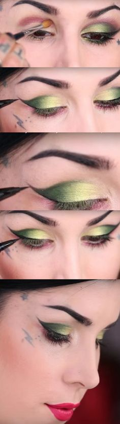Makeup Tutorials for Green Eyes -Two Winged Electric Green Eye Looks -Easy Eyeshadow Video and Tutorial Ideas - Natural Everyday Step by Step Beauty Tricks - Simple Looks for Night and Day thegoddess.com/makeup-tutorials-green-eyes