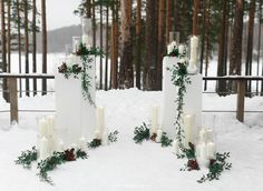 Stunning winter wedding ceremony backdrop decor