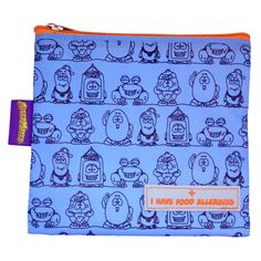 I Have Food Allergies Snack Bag (Blue Large) - These AllerMates snack packs are a great way to alert canteen / school staff to your child's allergies. Featuring a bright and colourful design incorporating several of the AllerMates characters! Kids Allergies, Medical Bag, Blue Food, Insulated Lunch Bags, Snack Bags, Blue Bags, Peanut Allergy, Kids Bags, Snacks