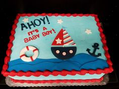 nautical baby shower sheet cakes