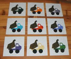 Set of 9 Bright Dump Truck Applique Quilt Blocks | eBay   http://www.ebay.com/itm/300860611521?ssPageName=STRK:MESELX:IT&_trksid=p3984.m1558.l2649