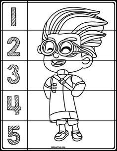 pj masks coloring number puzzles  pj masks coloring pages color puzzle preschool activities