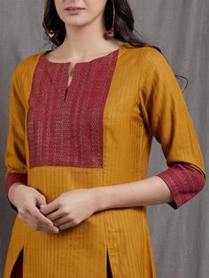 The Loom- An online Shop for Exclusive Handcrafted products comprising of Apparel, Sarees, Jewelry, Footwears & Home decor. New Kurti Designs, Kurtha Designs, Chudi Neck Designs, Churidar Neck Designs, Simple Kurti Designs, Kurta Neck Design, Neck Designs For Suits, Sleeves Designs For Dresses, Kurta Designs Women