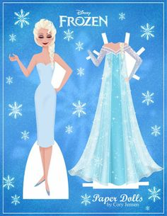 Elsa paper doll dress up printable