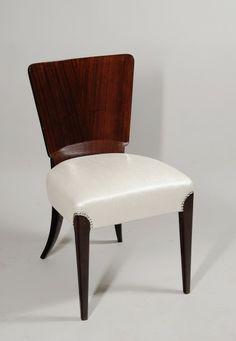 Halabala Jindřich, Czechoslovakia, chair from Tulipán set, mahagony, white leather, 1930 - 1939, restored