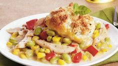 Enjoy this chicken pot pie for dinner made using corn, Cascadian Farm® organic edamame, Progresso® broth and Bisquick® mix – perfect for Thanksgiving.
