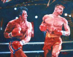 ORIGINAL Sylvester Stallone Rocky 4 IV Ivan Drago art painting 11x14 Bill Pruitt #RockyDragoArt #RockyIVDrago