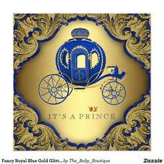 Fancy Royal Blue Gold Glitter Prince Baby Shower Invitation