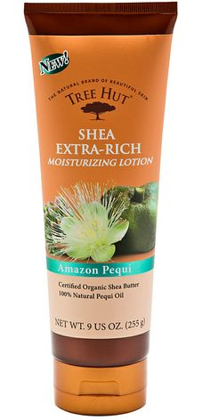 This extra-rich Shea body lotion, infused with certified organic Shea butter & exotic pequi extract, was designed to hydrate and condition your complexion with its light, non-greasy formula for a daily hydration that will keep your skin looking smooth and healthy. #treehut