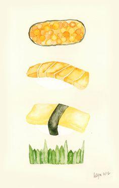 Sushi - Watercolor Painting (Original)