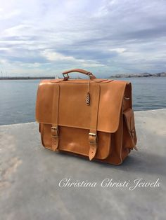 Natural Color Leather Briefcase Laptop Bag by ChristinaChristiJls