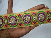 Embroidered designer Beige Fabric Trims