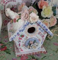 Just Adorable Shabby China Mosaic Tile Birdhouse-SOLD