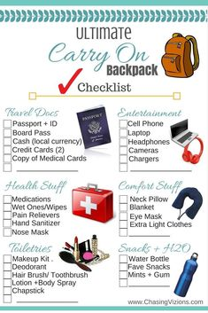 travel checklist Ultimate Carry on Backpack CHECKL - Roadtrip Tips, Travel Packing Checklist, Travel Bag Essentials, Road Trip Packing, Road Trip Essentials, Vacation Packing, Road Trip Hacks, Travelling Tips, International Travel Checklist
