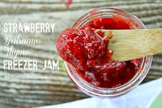 Strawberry Freezer Jam with Balsamic and Thyme from foodiewithfamily.com