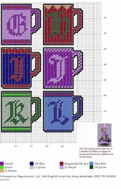 Personalized Mug Coasters G-L Plastic Canvas Letters, Plastic Canvas Coasters, Plastic Canvas Ornaments, Plastic Canvas Crafts, Canvas Designs, Canvas Patterns, Canvas Ideas, Old English Letters, Halloween Canvas