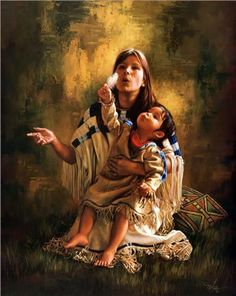 Native American Mother And Child Art Wolves and Native Amer...