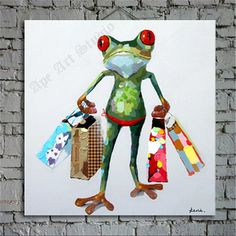Shopping frog  oil painting on canvas by Ape Art by ApeArtStudio