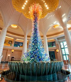 Atlantis Dubai ~ Dale Chihuly glass sculpture in lobby.