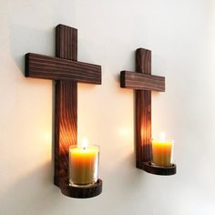 Cross Set of Wooden Hand Crafted Wall Decor Cross Votive Candle Holder, Hanging Wall Cross, Decorative Cross, Cross Votive Holder Wooden Crosses, Crosses Decor, Wall Crosses, Glass Votive Candle Holders, Candle Sconces, Decoration Palette, Cross Wall Decor, Wooden Projects, Wooden Walls