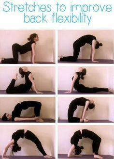 Yoga for back flexibility Back stretches help to loosen the back muscles and prevent tears and other injuries. Stretching also helps to lengthen the muscles and reduce the amount of pressure placed on the spine.