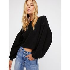 Sleeves Like These Pullover (€66) ❤ liked on Polyvore featuring tops, sweaters, oversized pullover sweater, oversized crop top, cropped pullover sweater, free people sweater and long-sleeve crop tops