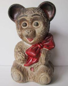 ANTIQUE VINTAGE ADORABLE TEDDY BEAR CAST IRON PIGGY BANK.  Your favourite piggy banks: http://www.helpmetosave.com/2012/02/piggy-bank/