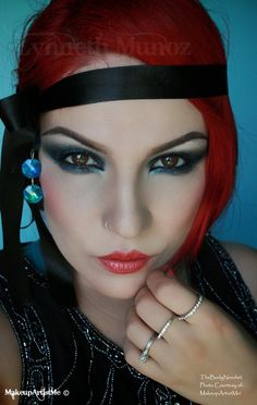 """""""1920's Dramatic"""", by MakeupArtistMe! Blackened Blue, In the Navy and Iced Diamonds pigments. """"As You Wish"""" blush. Mac's Reflects Transparent Teal and New York Apple lipstick."""