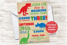 Dinosaur Invite Birthday Party Invitation 57 Digital Kids Personalized T Rex Boys Circus Birthday Invitations, Dinosaur Invitations, Party Invitations Kids, 5x7 Envelopes, Kids Carnival, Dinosaur Party, T Rex, Birthday Parties, 3rd Birthday