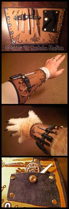 Steampunk Cryptozoologists Tool Bracer by *Nashoba-Hostina on deviantART gnomish inspiration accessories diy Steampunk Cryptozoologist's Tool Bracer by Nashoba-Hostina on DeviantArt