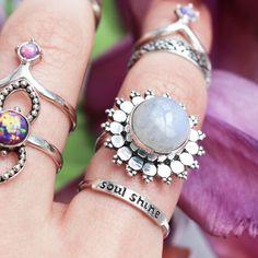 Wild Flower Rainbow Moonstone Ring