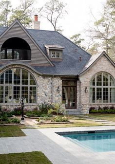Stone exterior, slate roof